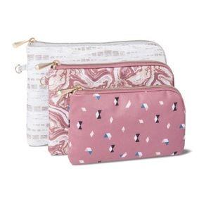 NWT Sonia Kashuk 3 Pc Compact Makeup Bag -Pink Cat